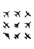 Airplane icons set: passenger plane, fighter plane and screw. Vector