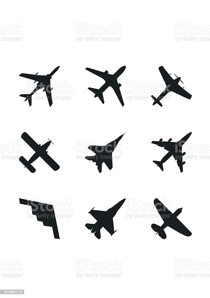 Airplane icons set: passenger plane, fighter plane and screw. Vector vector art illustration