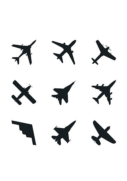 Airplane icons set: passenger plane, fighter plane and screw. Vector Airplane icons set: passenger plane, fighter plane and screw. Vector Illustration. fighter plane stock illustrations