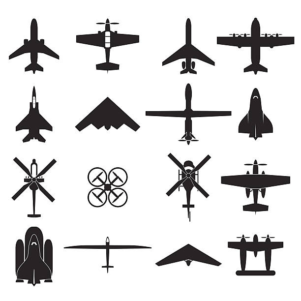 airplane icons set airplane icons set private airplane stock illustrations