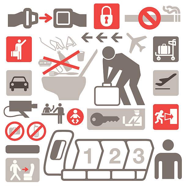 illustrazioni stock, clip art, cartoni animati e icone di tendenza di icone di competizione - sedili aereo