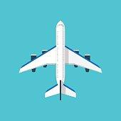 Airplane illustration isolated on blue background