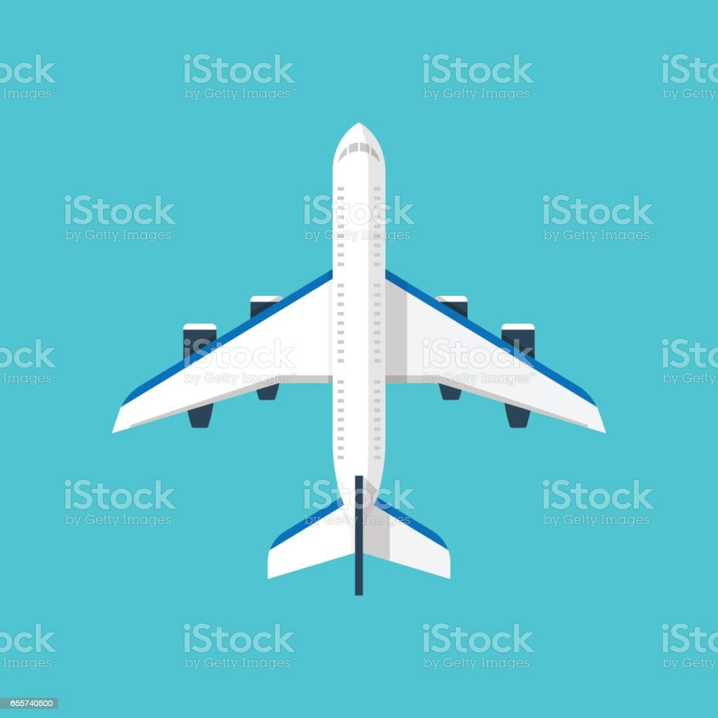 Airplane illustration isolated on blue background vector art illustration