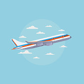 Airplane in blue sky with white clouds. Traveling and air freight vector concept