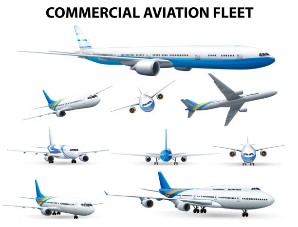 Airplane in different positions for commercial aviation fleet Airplane in different positions for commercial aviation fleet illustration airport clipart stock illustrations