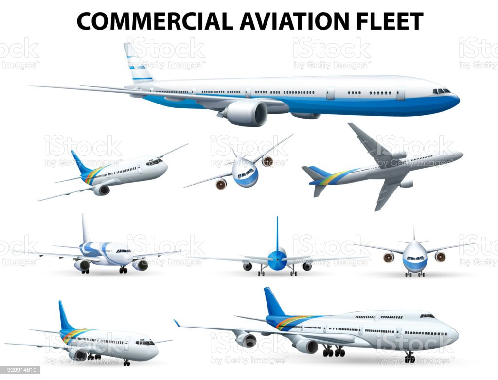 Airplane in different positions for commercial aviation fleet vector art illustration