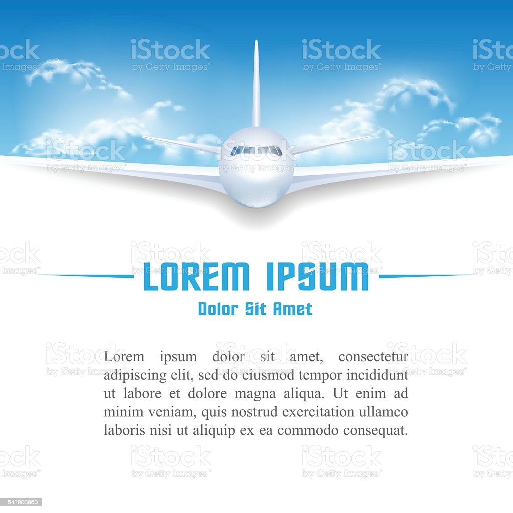 Airplane in sky poster template vector art illustration