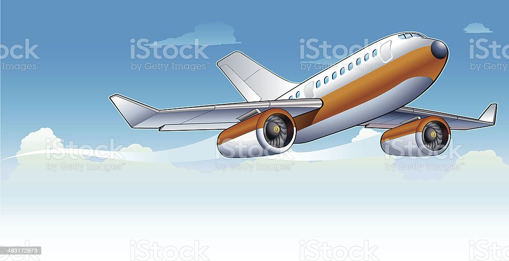 Airplane in the sky royalty-free airplane in the sky stock vector art & more images of aerospace industry