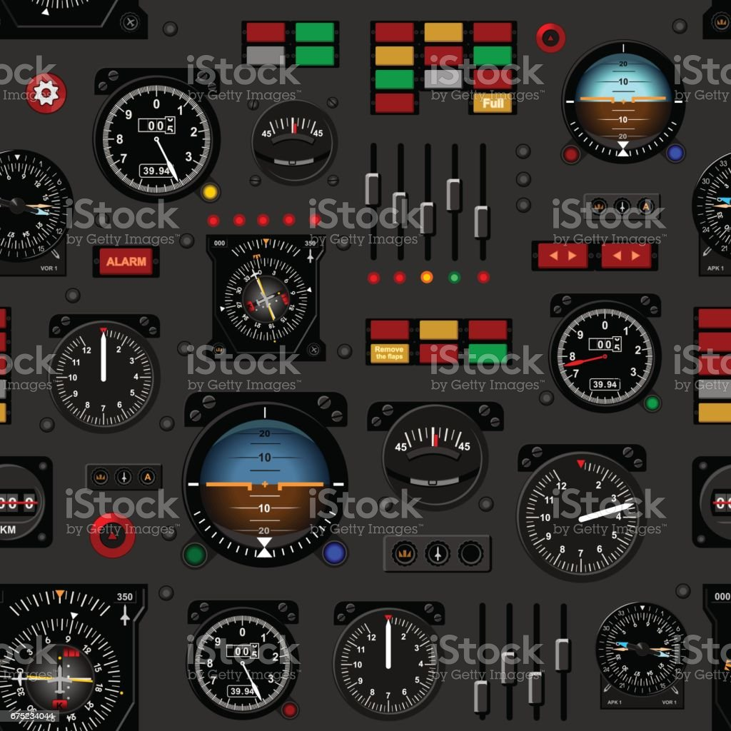 Airplane instrument panel. Aircraft dashboard. Creative seamless pattern, Realistic wallpaper. vector art illustration