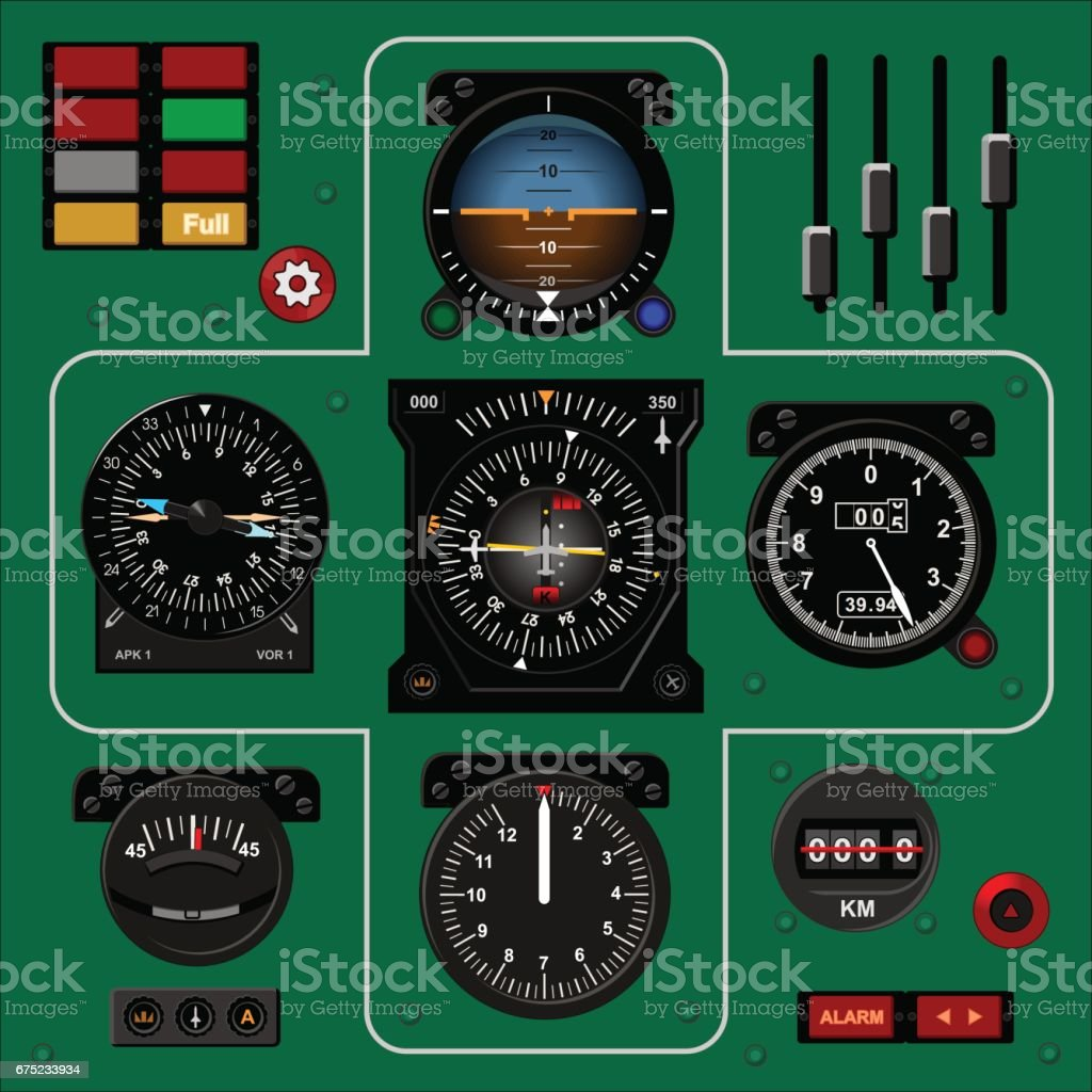 Airplane instrument panel. Aircraft dashboard. Realistic background vector art illustration