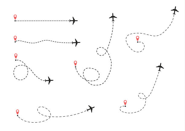 airplane is in a dotted line. The airplane is in a dotted line. The flying apartment is black. The waypoint is for a tourist trip. and his track on a white background. Vector illustration.tourism and travel. airport patterns stock illustrations
