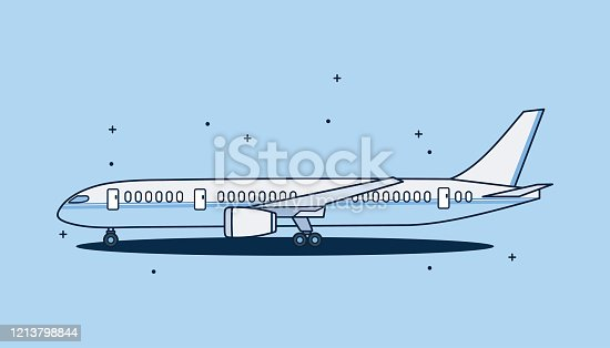Airplane isolated on white background. design airplane Flat style.