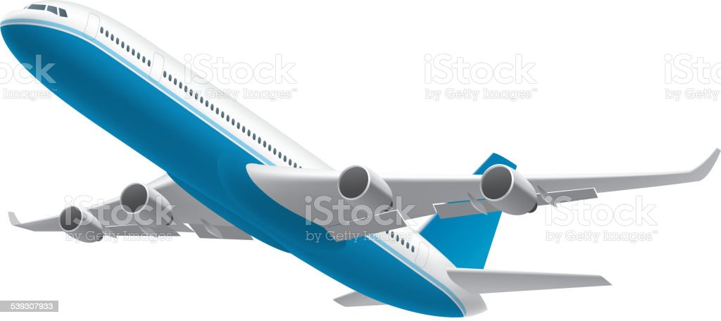 Airplane isolated on white vector art illustration