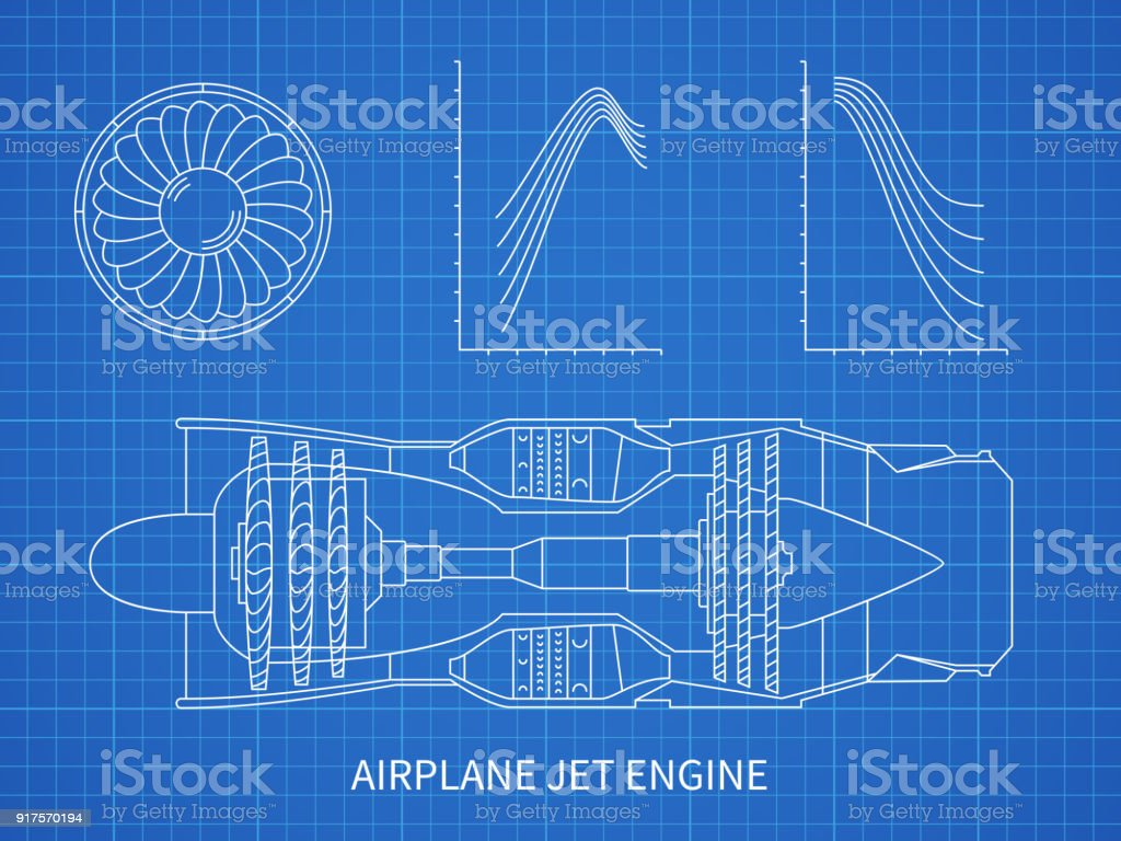 Airplane jet engine with turbine vector blueprint design vector art illustration