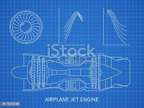 Airplane jet engine with turbine vector blueprint design stock airplane jet engine with turbine vector blueprint design stock vector art more images of air vehicle 917570194 istock malvernweather Choice Image