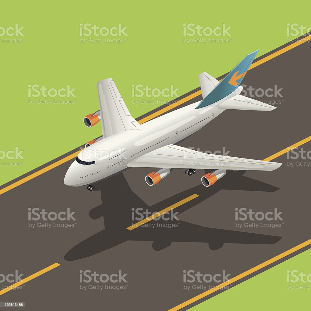 airplane landing vector art illustration