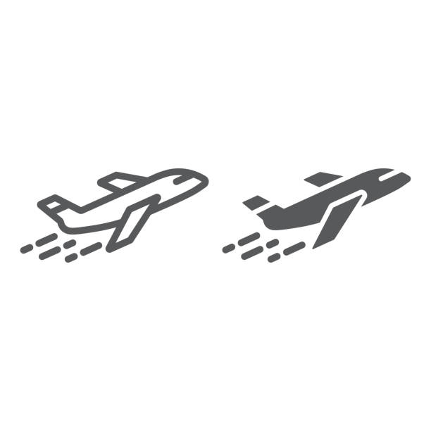 Airplane line and glyph icon, aircraft and travel, plane sign, vector graphics, a linear pattern on a white background. Airplane line icon, aircraft and travel, plane sign, vector graphics, a linear pattern on a white background, eps 10. south caucasus stock illustrations