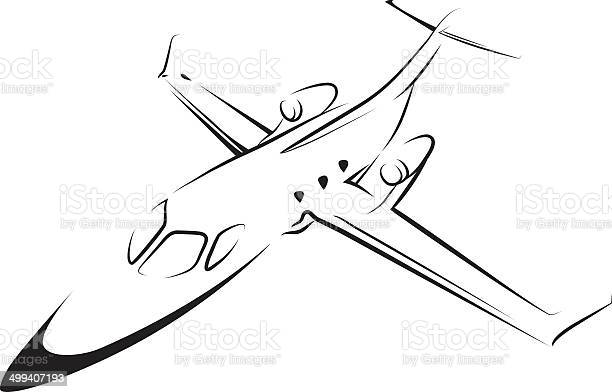 Airplane Line Art Stock Illustration - Download Image Now