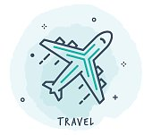 Line Style Vector Illustration for Travelling.