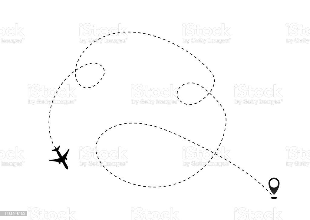 Airplane line path vector icon of air plane flight route dash line...