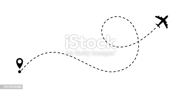 istock Airplane line path vector icon of air plane flight route with start point and dash line trace 1042534060