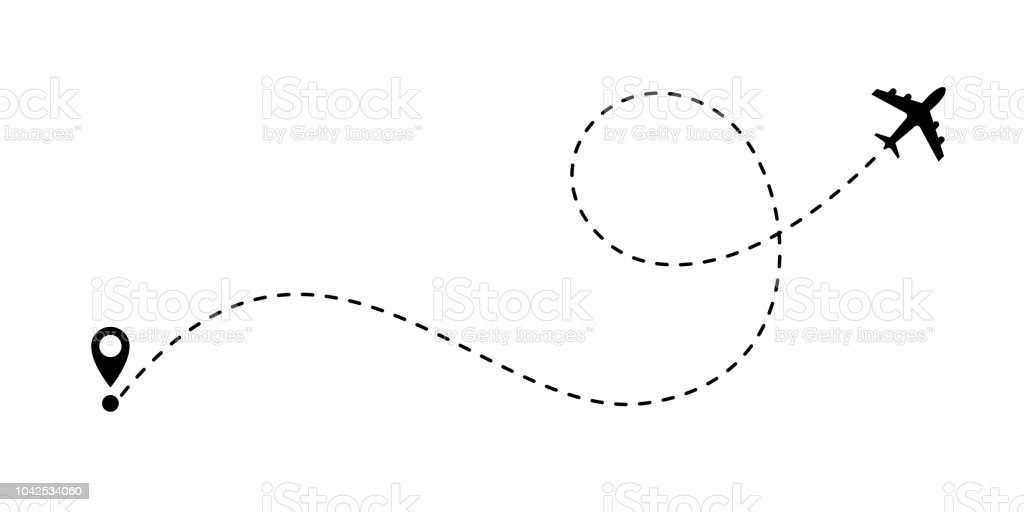 Airplane line path vector icon of air plane flight route with start point and dash line trace vector art illustration