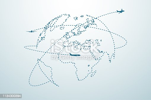 Airplane line path with map in vector