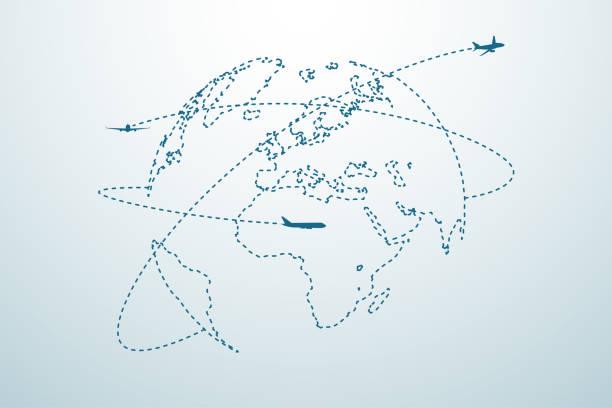 ilustraciones, imágenes clip art, dibujos animados e iconos de stock de ruta de línea de avión con mapa - excursionismo