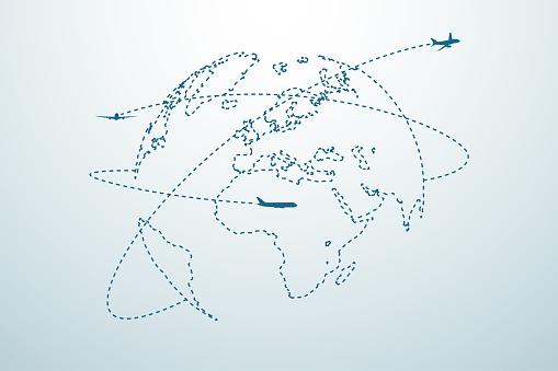 Fluglinie Mit Karte Stock Vektor Art und mehr Bilder von Abstrakt
