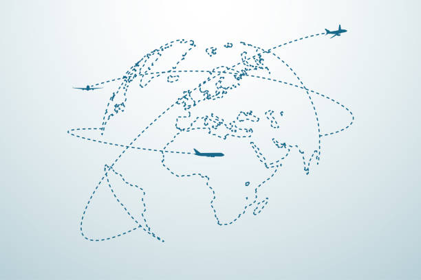 airplane line path with map - turystyka stock illustrations