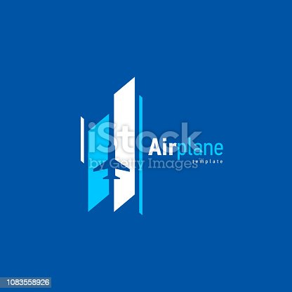 Airplane logo blue flight takeoff stripes up