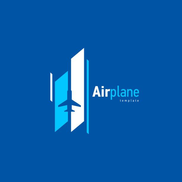 Airplane logo blue flight takeoff stripes up Airplane logo blue flight takeoff stripes up airport patterns stock illustrations