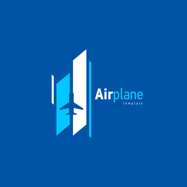 airplane logo blue flight takeoff stripes up - commercial airplane stock illustrations