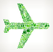Airplane  Money and Finance Green Vector Icon Background