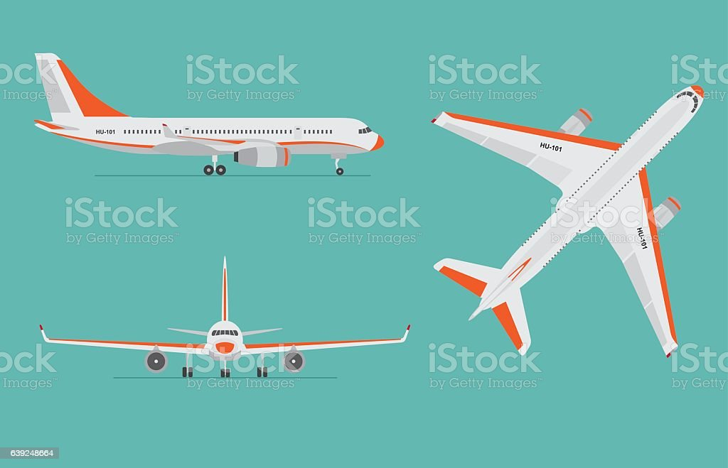 Airplane on blue background. Airliner in top, side, front view. - ilustração de arte em vetor