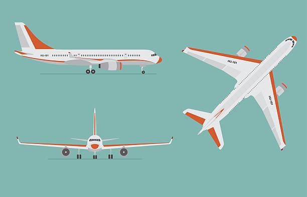 Airplane on blue background. Airliner in top, side, front view. - ilustração de arte em vetor