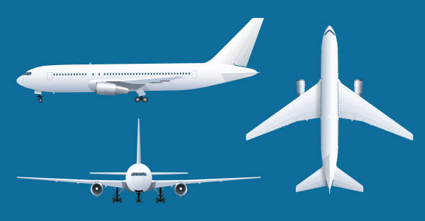 airplane on blue background. industrial blueprint of airplane. airliner in top, side, front view. flat style vector illustration. - wire frame model stock illustrations
