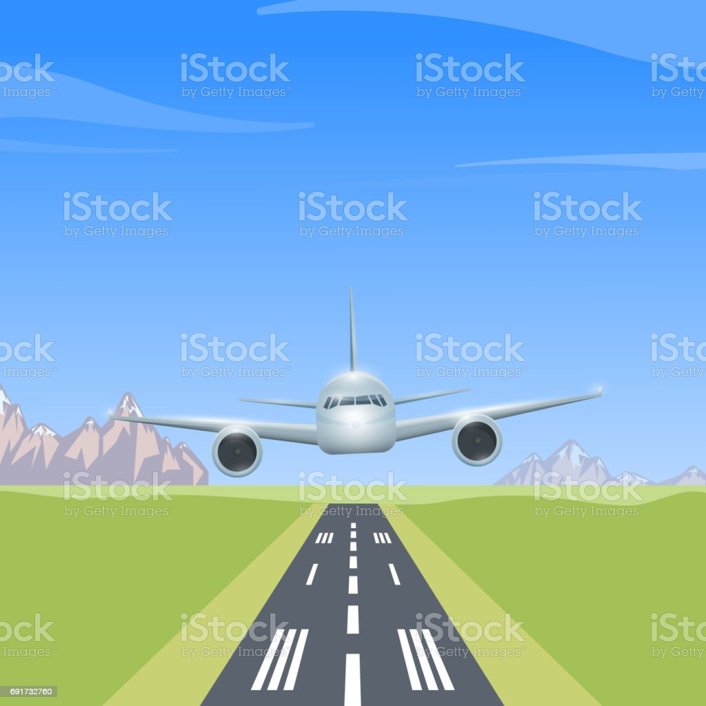 Airplane over the runway vector art illustration
