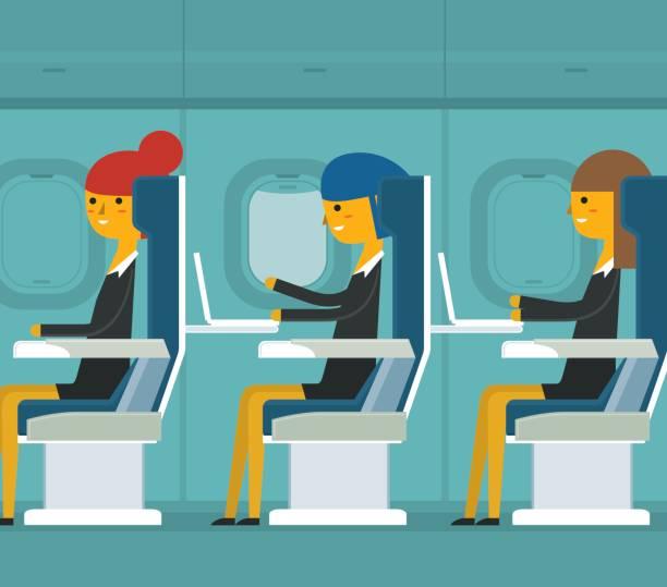 uçak yolcu - iş kadını - airplane seat stock illustrations