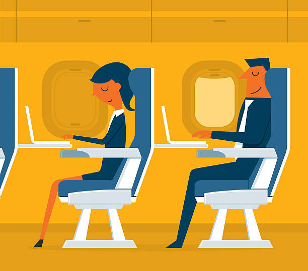 flugzeug passagier - fahrzeugsitz stock-grafiken, -clipart, -cartoons und -symbole