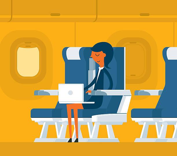 airplane passenger - airplane seat stock illustrations