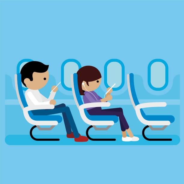uçak yolcu - airplane seat stock illustrations