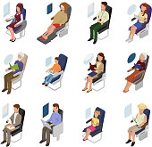 Airplane passenger vector people businessman woman character sit