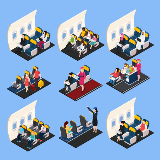 airplane passengers crew isometric people composition - airplane seat stock illustrations