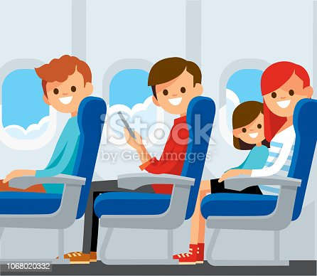 Airplane passengers on their seats.  Mother travelling with a child.