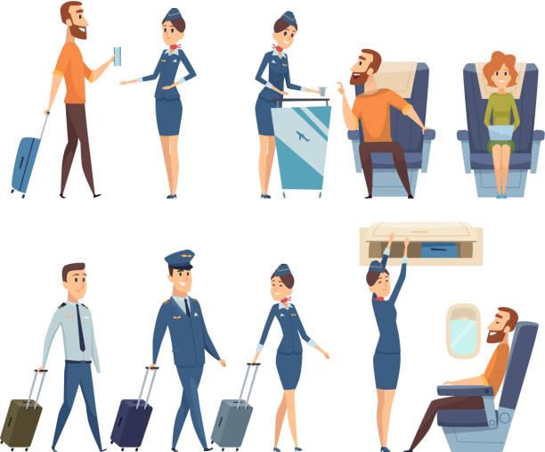 stockillustraties, clipart, cartoons en iconen met vliegtuigpassagiers. stewardess in uniform boarding vliegtuig veiligheid vector stripfiguren - stewardess