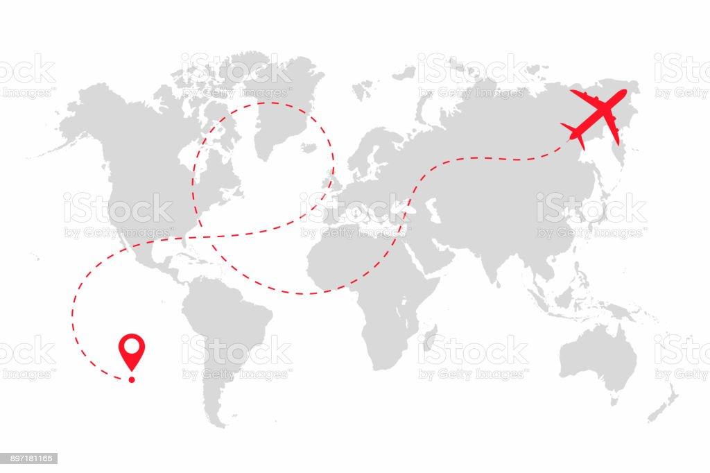 Ruta de avión en forma de línea de puntos en el mapa del mundo. Mapa de ruta de avión con mundo aislado sobre fondo blanco ilustración de ruta de avión en forma de línea de puntos en el mapa del mundo mapa de ruta de avión con mundo aislado sobre fondo blanco y más vectores libres de derechos de abstracto libre de derechos