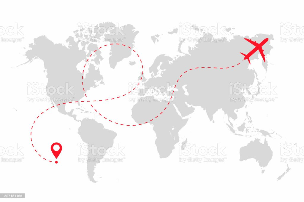 Airplane path in dotted line shape on world map. Route of plane with world map isolated on white background vector art illustration