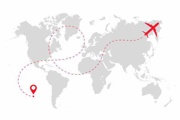 ilustrações de stock, clip art, desenhos animados e ícones de airplane path in dotted line shape on world map. route of plane with world map isolated on white background - ilustrações de destinos de viagens