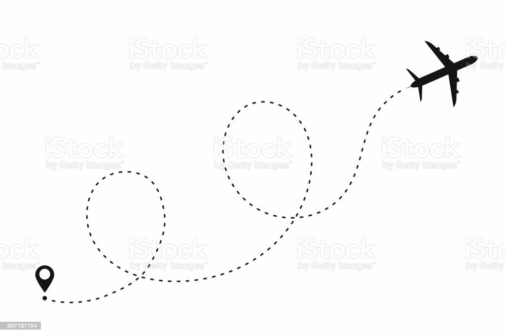Airplane path in dotted line shape. Route of plane isolated on white background